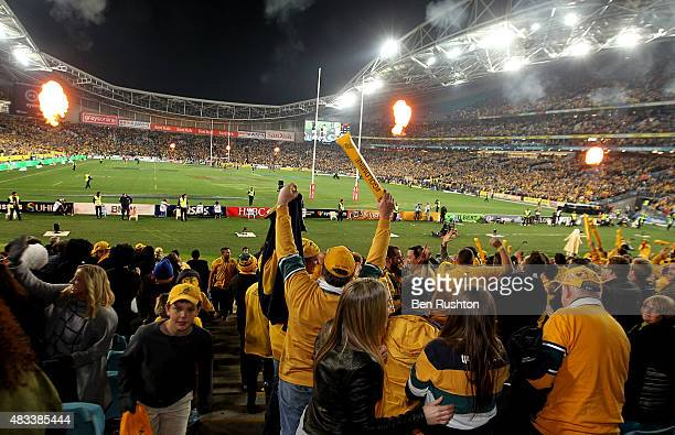 Wallabies fans rejoice at Australia's victory over New Zealand during The Rugby Championship match between the Australia Wallabies and the New...