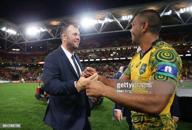 Wallabies head coach Michael Cheika and Kurtley Beale of the Wallabies celebrate victory at the end of the Bledisloe Cup match between the Australian...