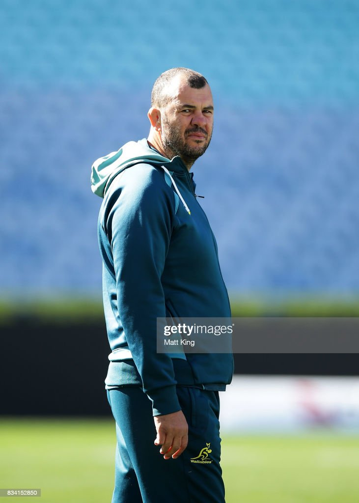 Wallabies head coach Michael Cheika looks on during the Australian Wallabies Captain's Run at ANZ Stadium on August 18, 2017 in Sydney, Australia.