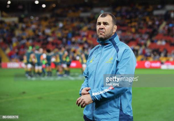 Wallabies head coach Michael Cheika looks on during the Bledisloe Cup match between the Australian Wallabies and the New Zealand All Blacks at...