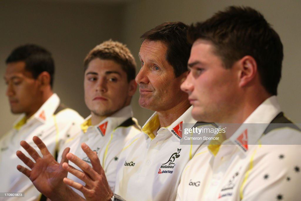 Wallabies head coach <a gi-track='captionPersonalityLinkClicked' href=/galleries/search?phrase=Robbie+Deans&family=editorial&specificpeople=606884 ng-click='$event.stopPropagation()'>Robbie Deans</a> talks during the Australian Wallabies team announcement on June 20, 2013 in Brisbane, Australia.