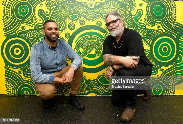 Wallabies Indigenous jersey artist Denis Goulding and CR Krista Adams pose for a photo during an ARU media opportunity on October 16 2017 in Brisbane...