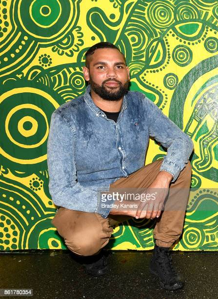 Wallabies Indigenous jersey artist Denis Goulding poses for a photo during an ARU media opportunity on October 16 2017 in Brisbane Australia