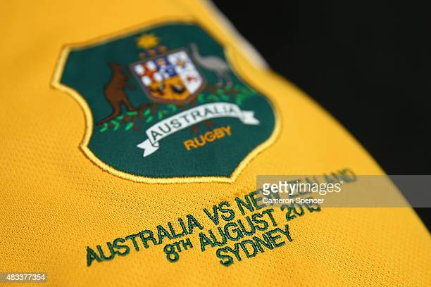 Wallabies jersey is seen in their changeroom prior to the Rugby Championship match between the Australia Wallabies and the New Zealand All Blacks at...
