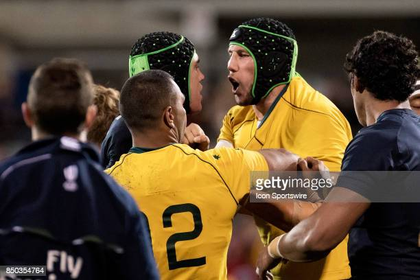 Wallabies lock Adam Coleman and Pumas lock Matias Alemanno are not happy with each other at the 2017 Rugby Championship game between the Australia...