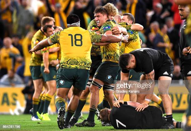 Wallabies players celebrate victory after the Bledisloe Cup match between the Australian Wallabies and the New Zealand All Blacks at Suncorp Stadium...