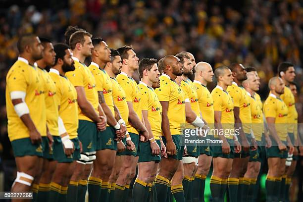 Wallabies players looks on during the Haka prior to the Bledisloe Cup Rugby Championship match between the Australian Wallabies and the New Zealand...