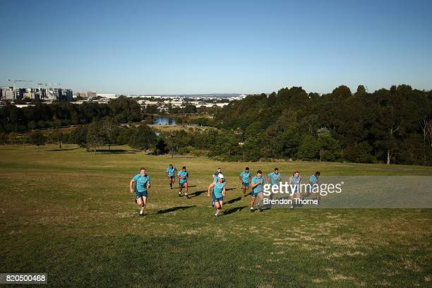 Wallabies players run during a Wallabies hills training session on July 22 2017 in Sydney Australia