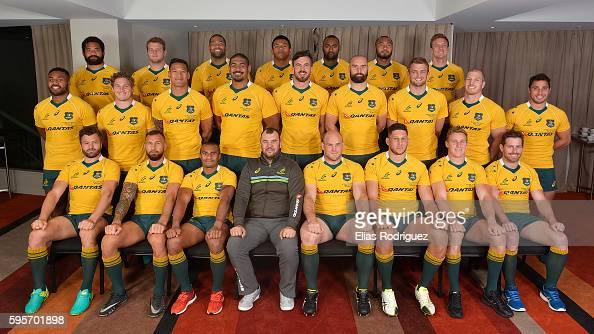 Wallabies team photo after the Australia Wallabies Captain's Run at Westpac Stadium on August 26 2016 in Wellington New Zealand