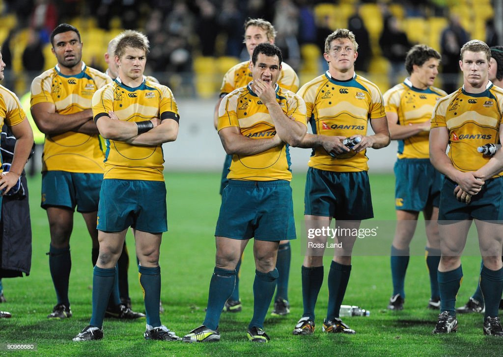Wallaby captain <a gi-track='captionPersonalityLinkClicked' href=/galleries/search?phrase=George+Smith+-+Rugby+Player&family=editorial&specificpeople=15720629 ng-click='$event.stopPropagation()'>George Smith</a> (C) looks dejected followoing his teams loss in the 2009 Tri Nations series Bledisloe Cup match between the New Zealand All Blacks and the Australian Wallabies at Westpac Stadium on September 19, 2009 in Wellington, New Zealand.