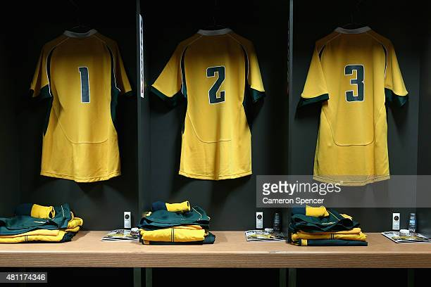 Wallaby jersey's are displayed in the Australian changeroom prior to the Rugby Championship match between the Australian Wallabies and the South...