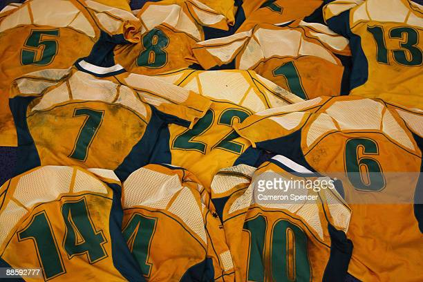 Wallaby player's jerseys are seen on the floor of the dressing room following the Second Test match between the Australian Wallabies and Italy at...