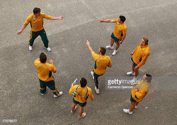 Wallaby players particpate in a game of hackysack following the Australian Wallabies captains run at Robert Brettes Stadium September 28 2007 in...