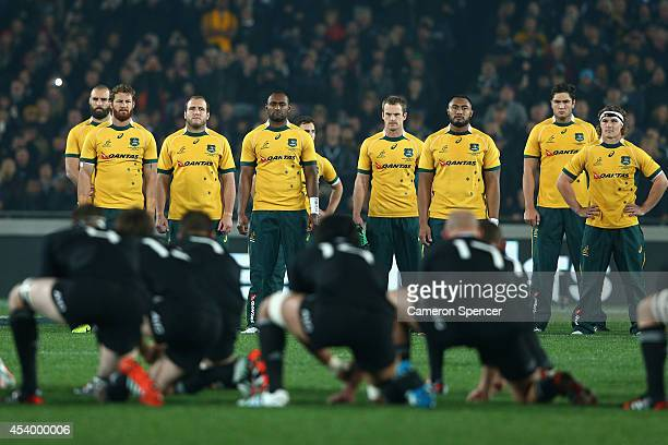 Wallaby players watch the All Blacks perform the Haka during The Rugby Championship match between the New Zealand All Blacks and the Australian...