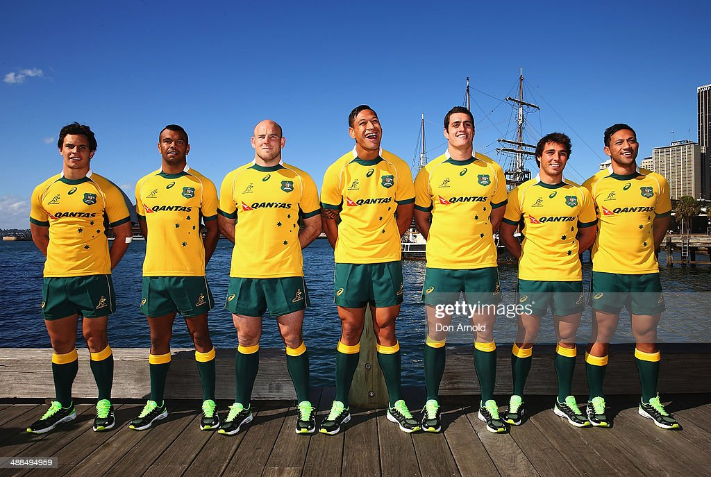 Wallaby squad members <a gi-track='captionPersonalityLinkClicked' href=/galleries/search?phrase=Matt+Toomua&family=editorial&specificpeople=4695215 ng-click='$event.stopPropagation()'>Matt Toomua</a>, <a gi-track='captionPersonalityLinkClicked' href=/galleries/search?phrase=Kurtley+Beale&family=editorial&specificpeople=3020818 ng-click='$event.stopPropagation()'>Kurtley Beale</a>, Stephen Moore, <a gi-track='captionPersonalityLinkClicked' href=/galleries/search?phrase=Israel+Folau&family=editorial&specificpeople=4194699 ng-click='$event.stopPropagation()'>Israel Folau</a>, <a gi-track='captionPersonalityLinkClicked' href=/galleries/search?phrase=Dave+Dennis+-+Rugby+Player&family=editorial&specificpeople=2516880 ng-click='$event.stopPropagation()'>Dave Dennis</a>, Nick Phipps and Christian Lealiifanu pose during the ASICS Wallabies Jersey Launch at the Park Hyatt Hotel on May 7, 2014 in Sydney, Australia.