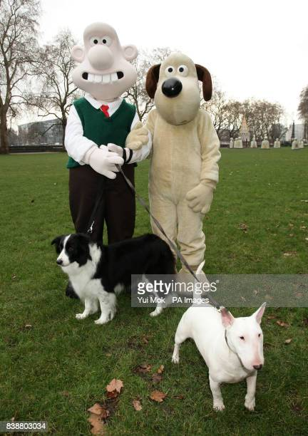 Wallace and Gromit with border collie Roxy and bull terrier Phoebe launching 'A Grand Day Out' with the Wallace and Gromit Children's Foundation and...