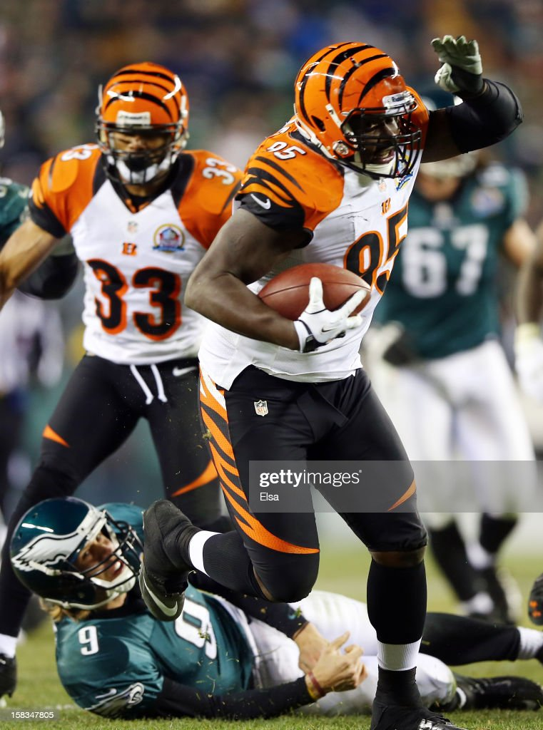 Wallace Gilberry #95 of the Cincinnati Bengals recovers a fumble by <a gi-track='captionPersonalityLinkClicked' href=/galleries/search?phrase=Nick+Foles&family=editorial&specificpeople=4620741 ng-click='$event.stopPropagation()'>Nick Foles</a> #9 of the Philadelphia Eagles and runs it in for a touchdown on December 13, 2012 at Lincoln Financial Field in Philadelphia, Pennsylvania.
