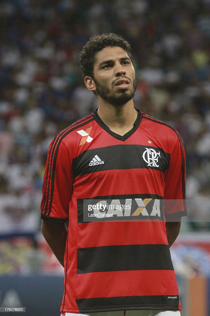 Wallace of Flamengo poses prior a match between Flamengo and Bahia as part of the Brazilian Serie A Championship at Arena Fonte Nova Stadium on July 31, 2013 in Salvador, Brasil.