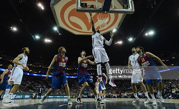 J Wallace of Real Madrid shoots a basket during the Turkish Airlines EuroLeague Final Four semi final game between FC Barcelona Regan and Real Madrid...