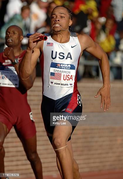Wallace Spearmon anchors USA Red 4 x 400meter relay to victory in 30009 in the 112th Penn Relays at the University of Pennsylvania's Franklin Field...