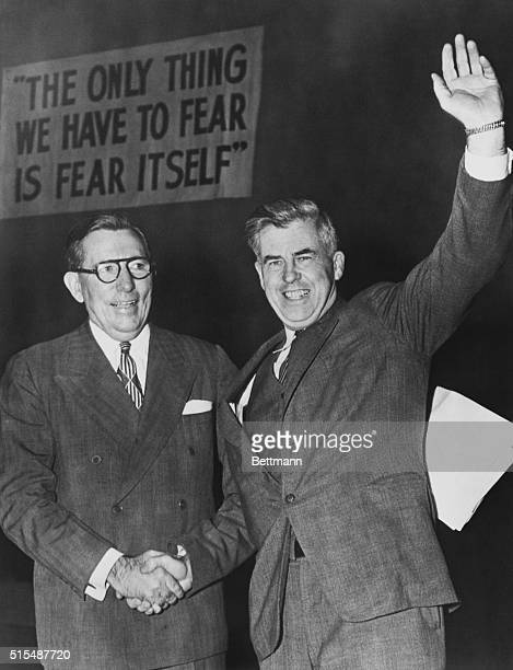 Wallace Urges 'Peace' Meeting with Stalin Washington DC Former Vice President Henry A Wallace right waves to the 12000 persons who heard his address...