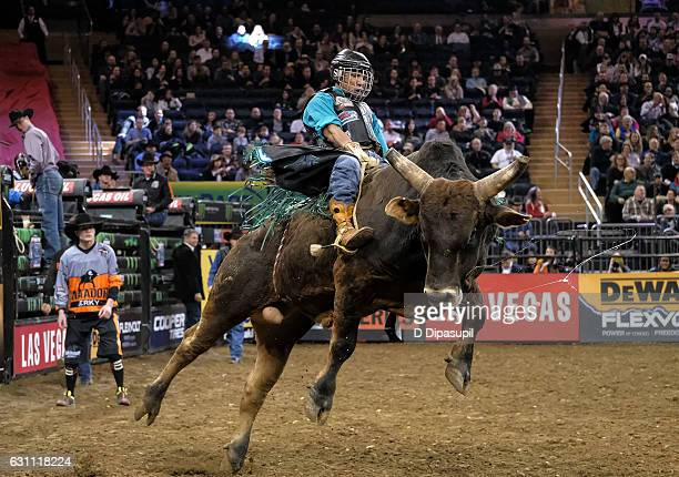 Wallace Vieira de Oliveira rides during the 2017 Professional Bull Riders Monster Energy Buck Off at the Garden at Madison Square Garden on January 6...