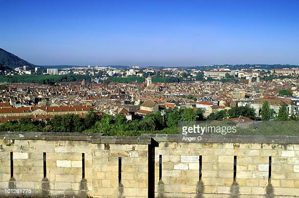 Walled village with blue sky, Besancon, France