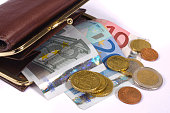 wallet and euro money