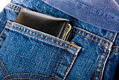 Carteira no bolso na parte de trás