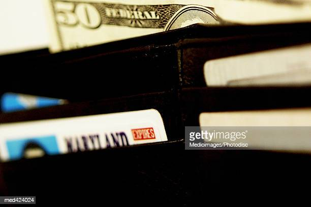 Wallet with American bank notes and credit cards