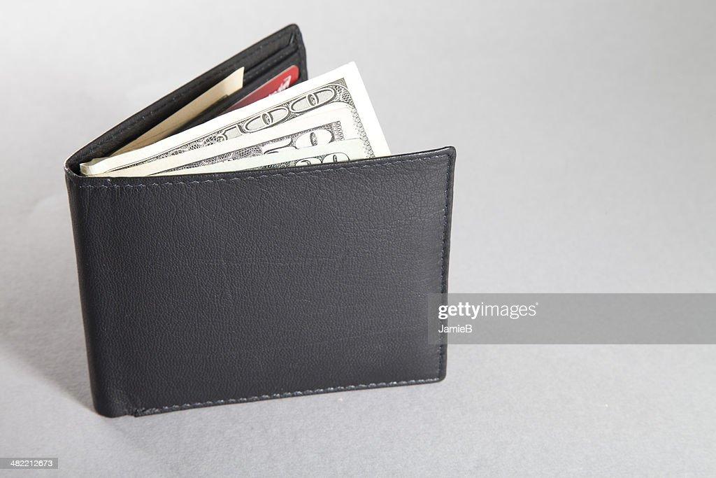 Wallet with US dollar bills