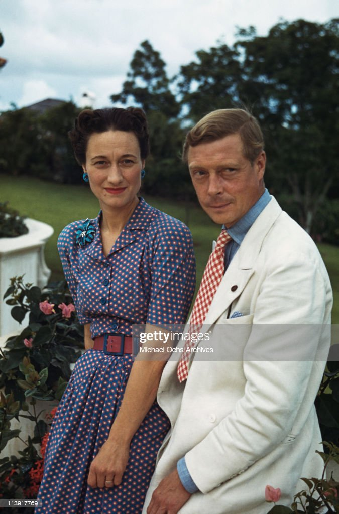 Wallis, Duchess of Windsor (1896-1986) and the Duke of Windsor (1894-1972) outside Goverment House in Nassau, the Bahamas, circa 1942. The Duke of Windsor served as Governor of the Bahamas from 1940 to 1945.