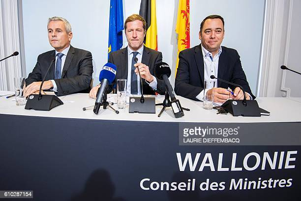 Walloon Minister of Budget Public Function and Administrative Simplification Christophe Lacroix Walloon Minister President Paul Magnette and Walloon...