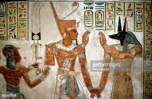 Wallpainting from the tomb of a son of Rameses III Valley of the Queens Luxor Egypt c12th century BC Rameses III leads his deceased son to Anubis