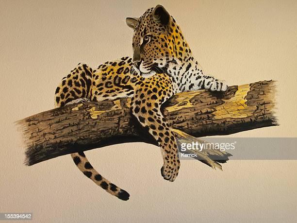 Wallpainting di un leopardo di integrare carta da parati