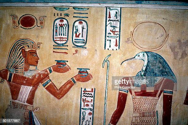 Wallpainting of Rameses III before Thoth Valley of the Queens Luxor Egypt c12th century BC The wallpainting is from the tomb of a prince