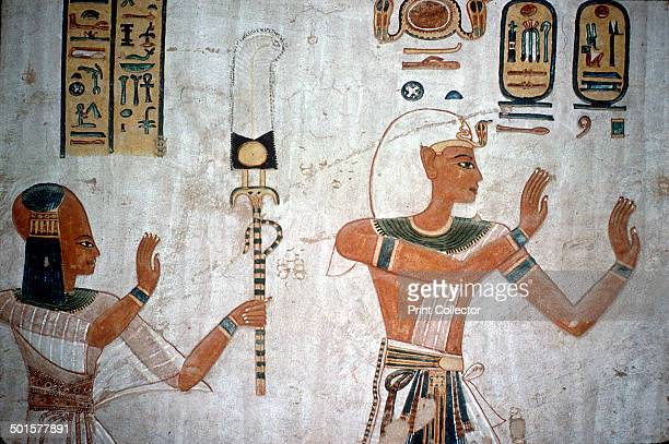 Wallpainting of Rameses III leading his deceased son to the gods Valley of the Queens Luxor Egypt c12th century BC The wallpainting is from the tomb...