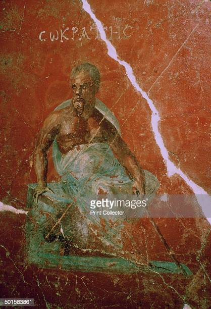 A wallpainting of Socrates from Ephesus Turkey at Selfuk in the Archaeological Museum's collection 2nd century BC