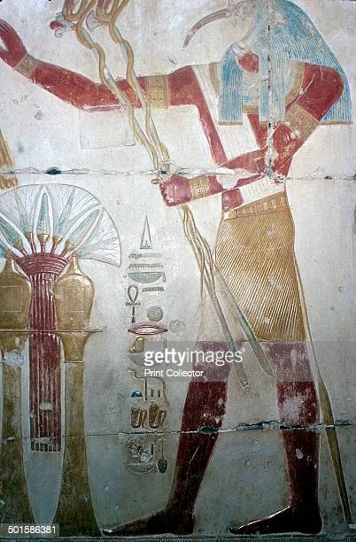 Wallpainting of Thoth Temple of Sethos I Abydos Egypt 19th Dynasty c1280 BC