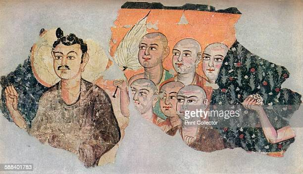 Wallpainting recovered from a ruined shrine at Miran' c300 Wall painting of the 3rd or 4th century recovered from a shrine at Miran discovered by...