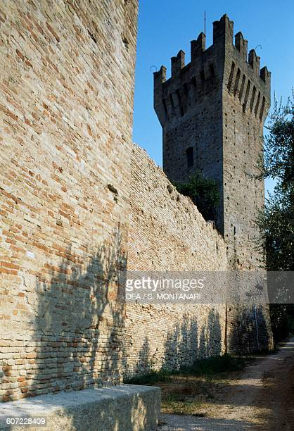Walls and crenellated tower of the castle Porto San Giorgio Marche Italy 14th century