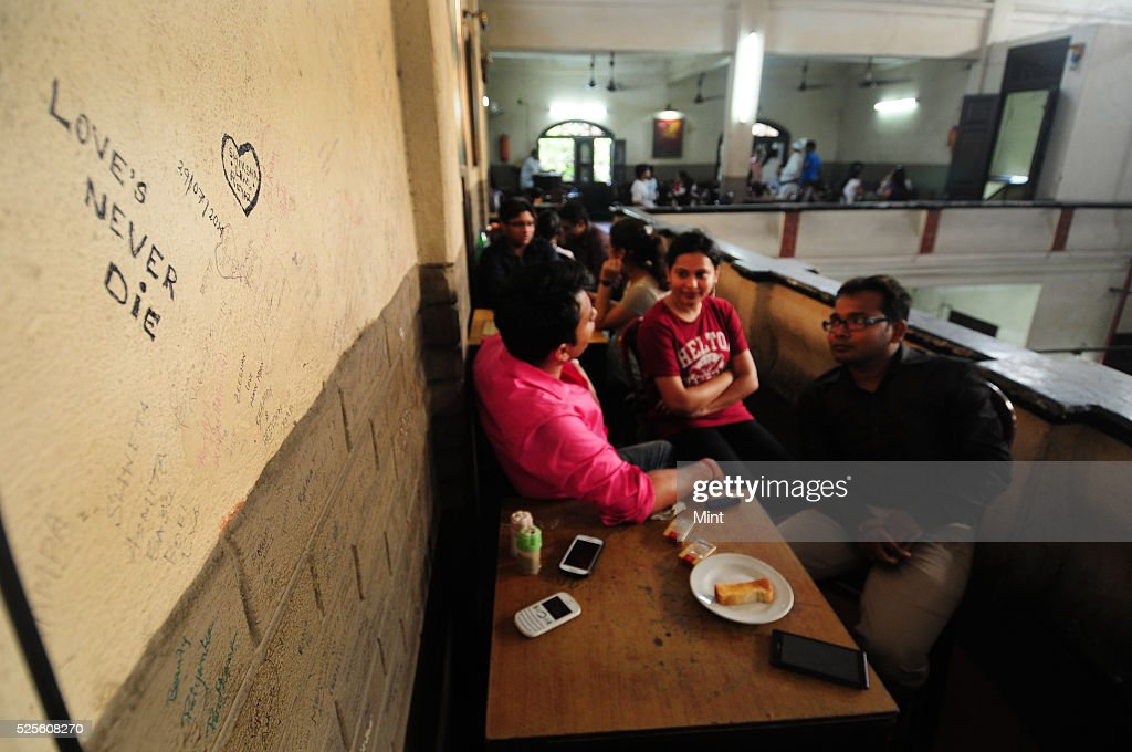 Walls of Indian coffee house full of love quotes on May 28, 2015 in Kolkata, India.