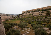 Jerusalem, Israel – April 13, 2017. Jerusalem, located on a plateau in the Judean mountains between the Mediterranean and the Dead Sea, is one of the oldest cities in the world. In the photograph, rui