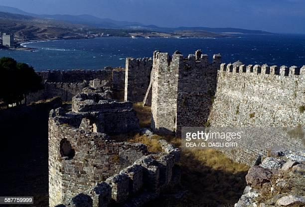 Walls of the Castle of Mytilene Lesbos island Greece 6th13th century
