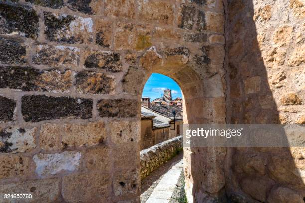 Walls of the church-palace of San Miguel in Maderuelo, Segovia, Spain
