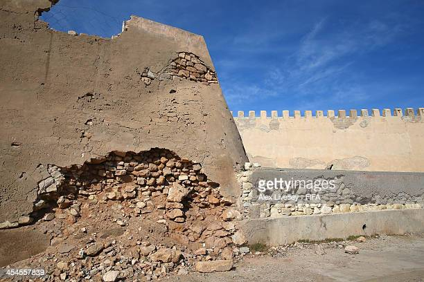 Walls of the original Kasbah which was built in 1572 is seen on December 9 2013 in Agadir Morocco The Kasbah was partly restored following an...