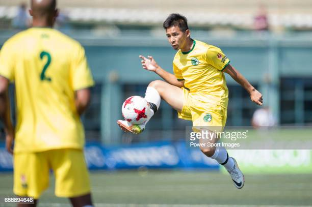 Wallsend Boys Club's Angelo Marcio Da Silva Cascao runs the ball during their Masters Tournament match competes with Yau Yee League Masters part of...