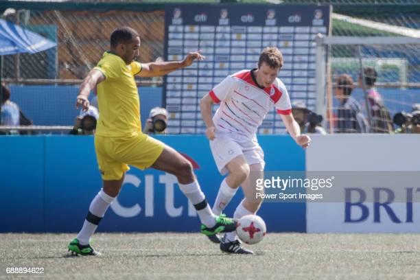 Wallsend Boys Club's Angelo Marcio Da Silva Cascao runs with the ball during their Masters Tournament match part of the HKFC Citi Soccer Sevens 2017...