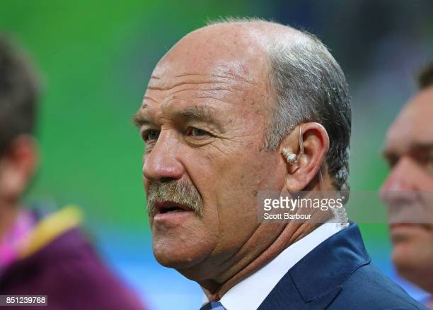 Wally Lewis looks on during the NRL Preliminary Final match between the Melbourne Storm and the Brisbane Broncos at AAMI Park on September 22 2017 in...