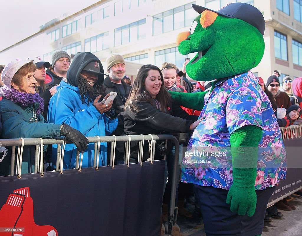 Wally the Green Monster greeted fans who showed up for truck day at Fenway Park, Saturday, Feb. 8, 2014. The truck left this morning for Fort Myers, Fla.